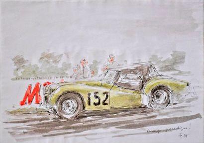 François CHEVALIER. Triumph TR3 en course....
