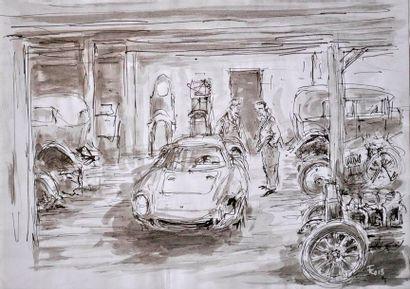 François CHEVALIER. Ferrari 250 LM au garage....