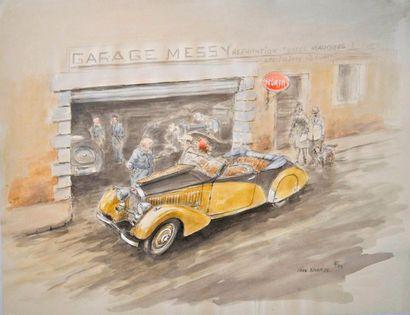 François CHEVALIER. Bugatti au garage. Aquarelle...