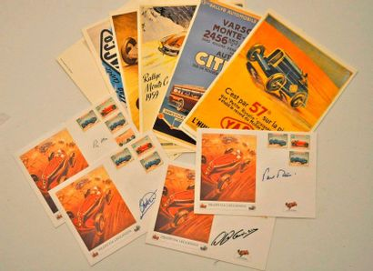 """Lot de 4 enveloppes timbrées """"GP de Monaco 1967"""" illustrées par Géo HAM + autographes..."""
