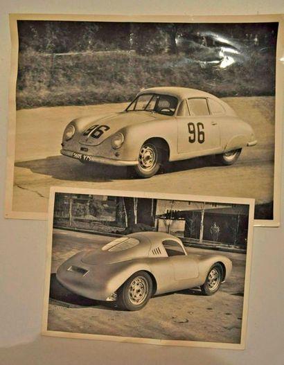 Lot de 2 photos d'usine PORSCHE (1953 et...