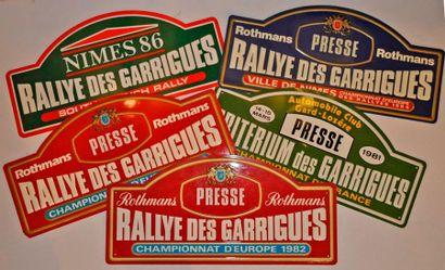 Rallye des Garrigues. Lot de 5 plaques de...