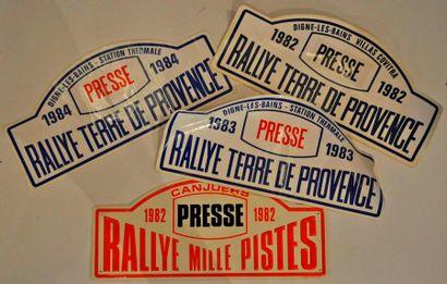 Lot de 4 plaques de rallye: Rallye Terre...