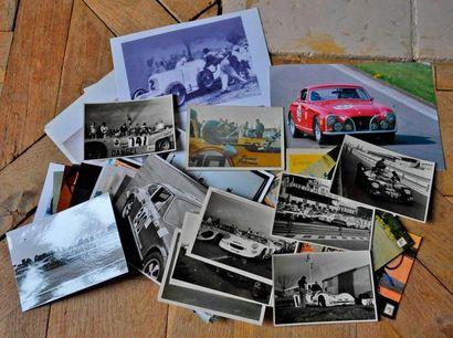 Lot de 85 photos et cartes postales sur l'automobile,...