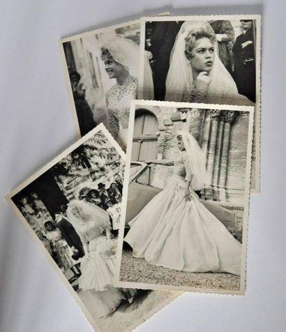 Brigitte BARDOT avec cabriolet DS. 4 photos...