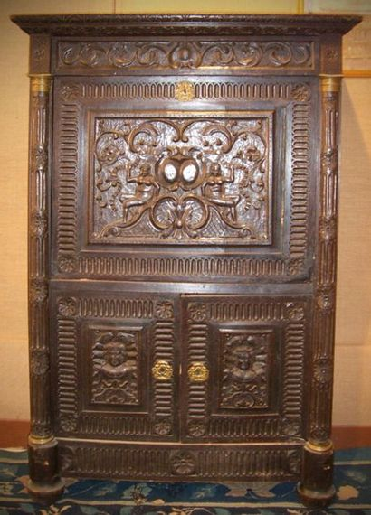 Rare moulded natural wood secretary richly...