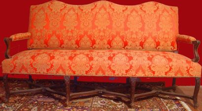 Large natural wood sofa molded and carved...