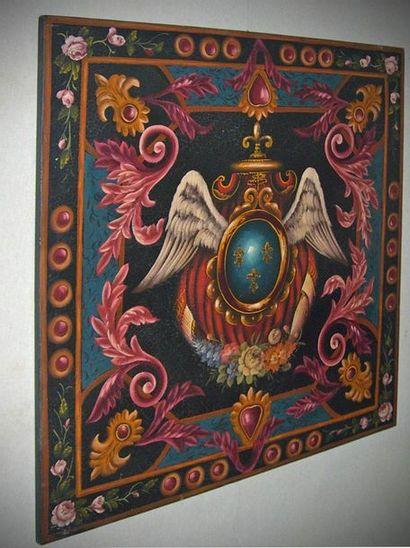 FRENCH SCHOOL. Royal emblems. Decorative...