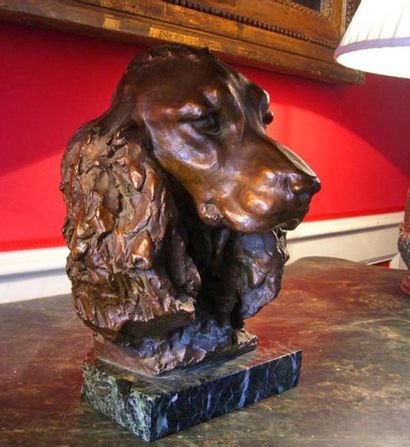 Hunting dog head. Lost wax bronze. Exceptional...