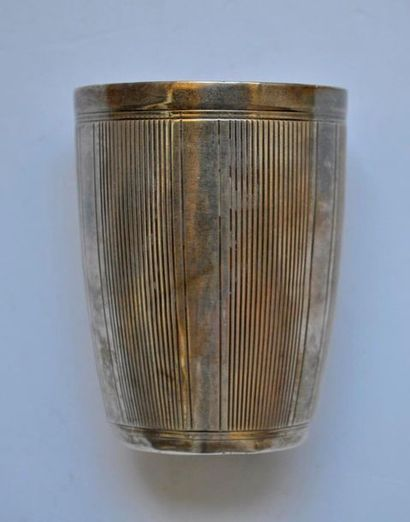 Silver goblet with net decoration. Art Deco...