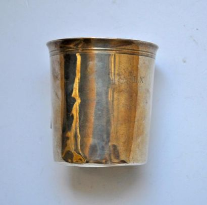 Silver goblet, net border. 19th century,...