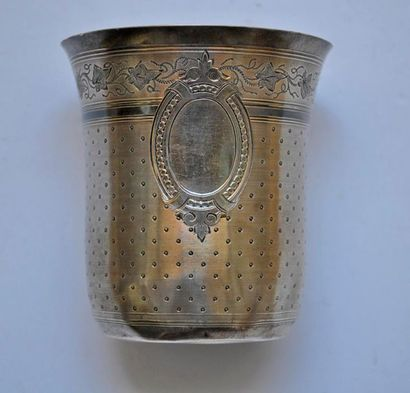 Silver goblet decorated with flowers, foliage...