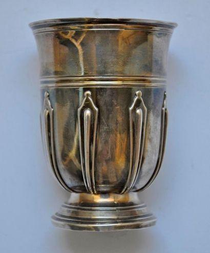 Silver tulip cup with pedestal, sconces decoration....