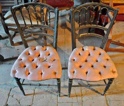 Pair of padded chairs, Napoleon III peri...