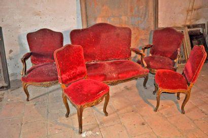 Living room set: sofa + 2 armchairs + 2 chairs....