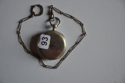 Lot de 3 montres: Montre Ancre 13 rubis en argent à décor floral. Diam. 5cm + Montre...