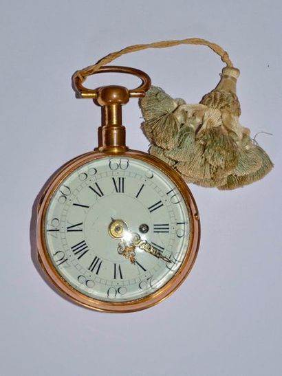 Importante montre de carrosse en pomponne Edme Baillot à Paris, vers 1730/1740....