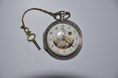 Lot de 2 montres: Montre au cupidon Mr. De JEUNET à VORAY en argent vers 1820 +...