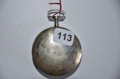 Montre décor polychrome en argent vers 1800 au portique, à coq en laiton doré à...