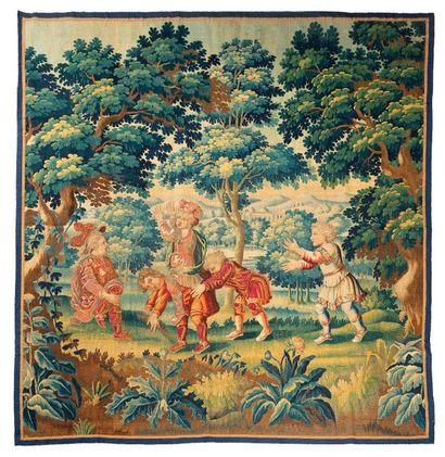 Panneau de fine tapisserie d'Aubusson détourée...