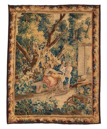 Tapisserie d'Aubusson, en laine et soie...