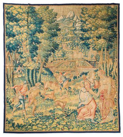 Panneau de fine tapisserie de Bruxelles.détourée(Flandres)...