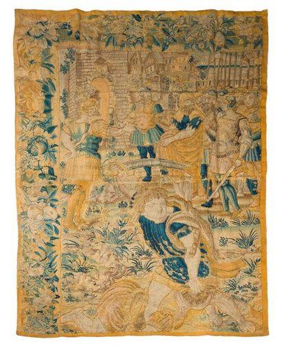 AUDENARDE  Fragment de tapisserie Audenarde...