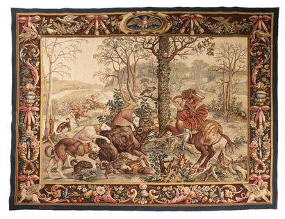 Fine Tapisserie d'Aubusson en laine et soie,...