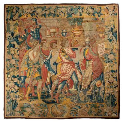 Rare Tapisserie de Bruges en laine et soie...