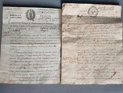 Two handwritten documents, one double-page...