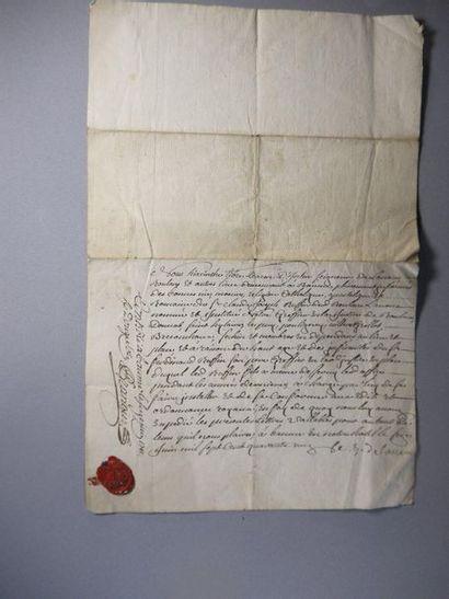 Handwritten letter with wax stamp - 1741