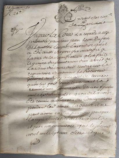 Handwritten document on 4 pages on vellum...