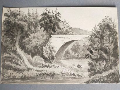 Washed drawing of a bridge - 19th century...