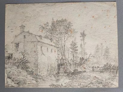 Pencil drawing representing a mill - 19th...
