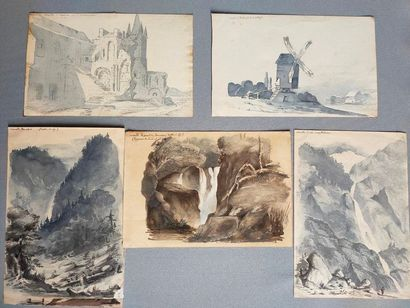 Five watercolor drawings of travels, located...