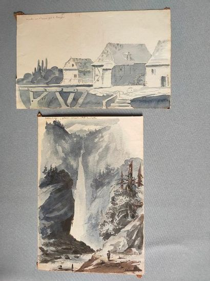Two watercolour drawings located - 20x14...
