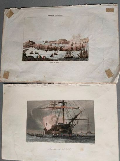 Two Naval engravings on fine paper - Combat...