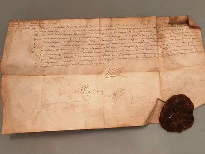 Parchment on vellum with a beautiful wax...