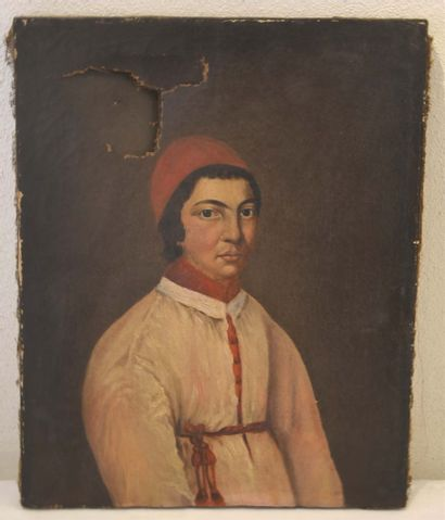 Mexican school of the 19th century. Ecclesiastical, hilum on canvas (accidents)...