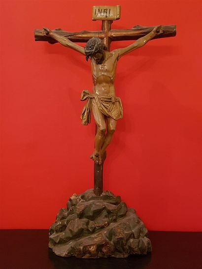 Large crucifix, Christ in polychrome carved...