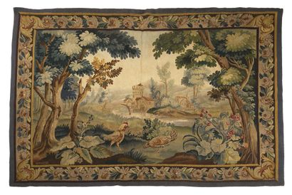 Aubusson Tapestry in wool and silk, end of...