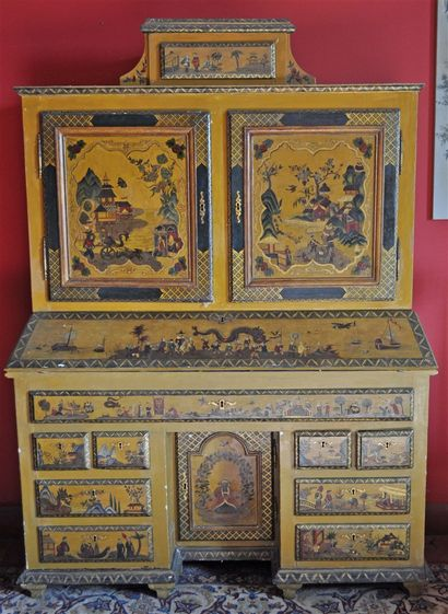 Rare and curious cabinet forming a scriban...