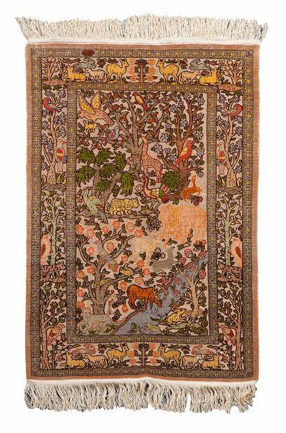 Fine and original HEREKE silk carpet, (Turkey),...
