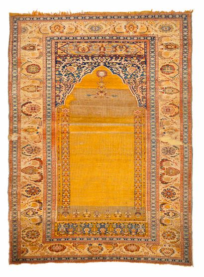 Rare and old OTTOMAN, in silk (chains, wefts...