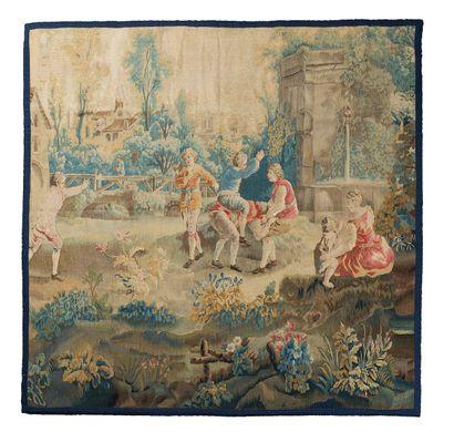 Tapisserie d'Aubusson en laine et soie du...