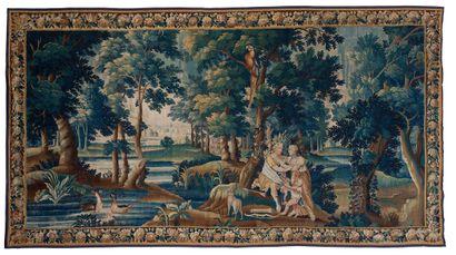 Tapisserie des Flandres en laine et soie...