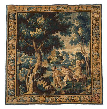 Tapisserie d'Aubusson en laine et soie, de...