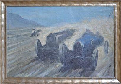 BUGATTI École Française. Bugatti en course. Huile sur toile. Signée en bas à droite....