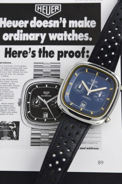 HEUER SILVERSTONE CHRONOGRAPH CHRONOMATIC / BLUE 110.313B, circa 1974  Imposing driver's...