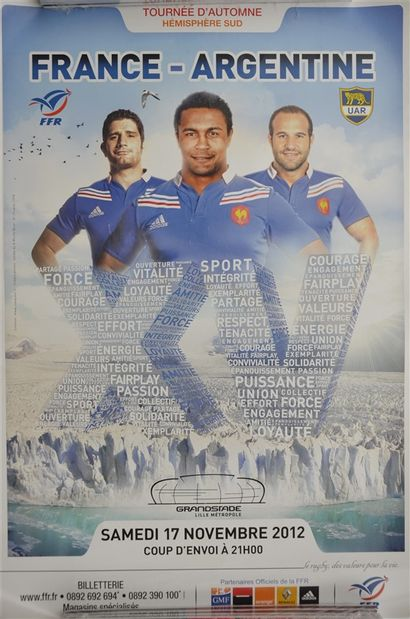 Lot de 3 affiches: RUGBY: France-Argentine...